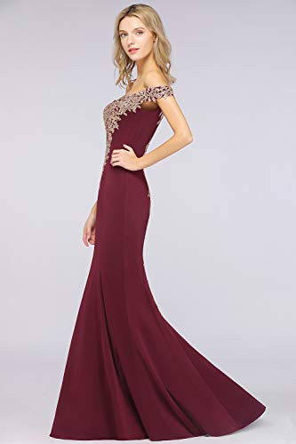 2019 Womens Long Mermaid Off Shoulder Lace Prom Evening
