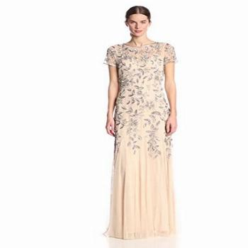 Adrianna Papell Women's Floral Beaded Godet Gown,