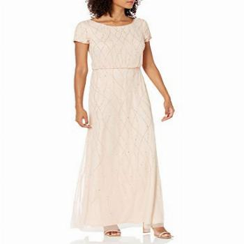 Adrianna Papell Women's Long Beaded Dress, CHAMPAGNE SAND,