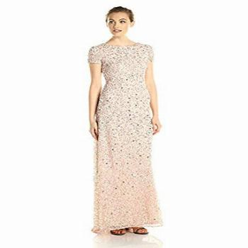 Adrianna Papell Women's Short Sleeve All Over Sequin Gown,