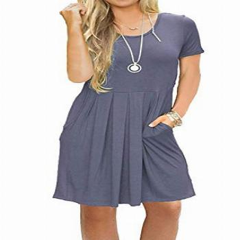 AUSELILY Women's Solid Plain Short Sleeve Pockets Pleated