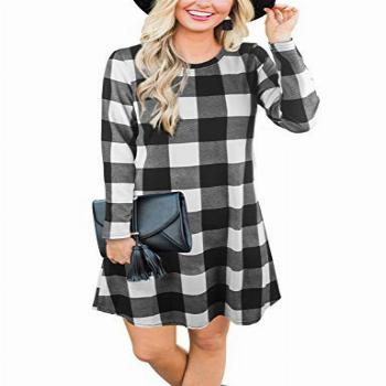 Blooming Jelly Women's Plaid Swing Dress Long Sleeve Round
