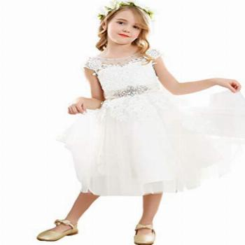 Bow Dream Vintage Lace Flower Embroidery Flower Girl Dress