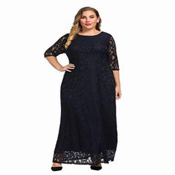 Chicwe Women's Plus Size Stretch Lace Maxi Dress - Evening