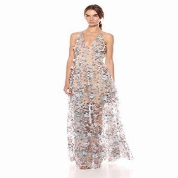 Dress the Population Women's Embellished Plunging Gown