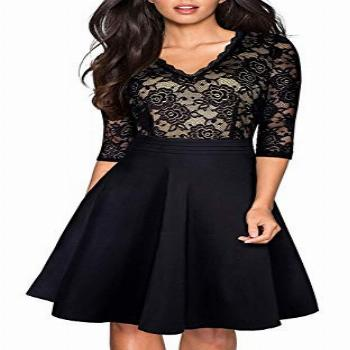 HOMEYEE Women's Chic V-Neck Lace Patchwork Flare Party Dress