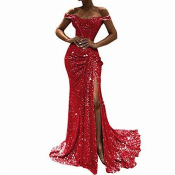 Hotkey Women's Formal Dresses Off The Shoulder Sequin Party