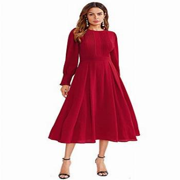 Milumia Women's Elegant Frilled Long Sleeve Pleated Fit and