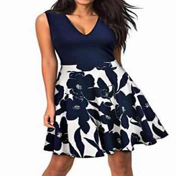 Miusol Women's Casual Flare Floral Contrast Sleeveless Party