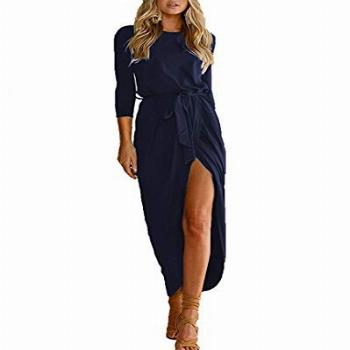 Qearal Women Scoop Neck 3/4 Sleeve High Low Pleated Loose