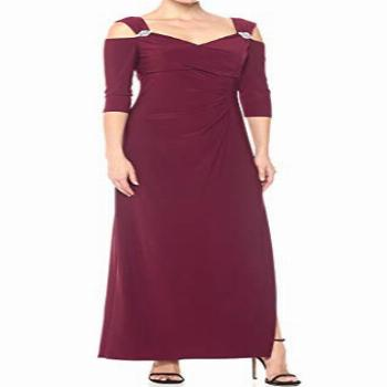 R&M Richards Women's Empire Waist Cold Shoulder with Sleeves