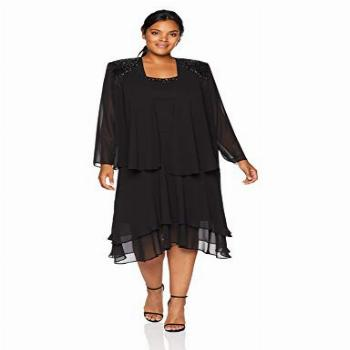 S.L. Fashions Women's Plus Size Embellished Tiered Jacket