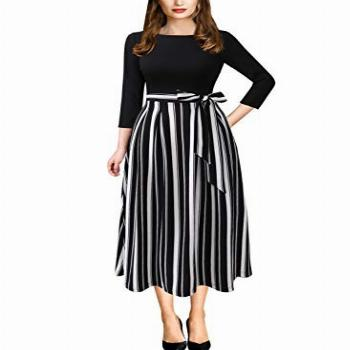 VFSHOW Womens Black and White Striped Print Spring Fall
