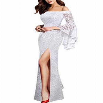 VFSHOW Womens Off-White Floral Lace Off Shoulder Ruffle Bell