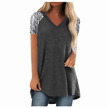 Women's 3/4 Sleeve Roll up Shirts Zip Floral Casual Tunic