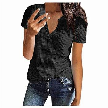 Womens Waffle Knit Tunic Blouse Tie Knot Short Sleeve Henley