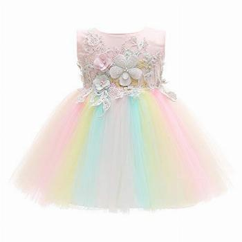 Xangirl Baby Girls Party Dress, Rainbow Tulle 3D Embroidery
