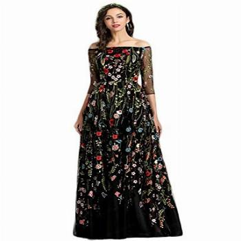 YSMei Women's V Neck Floral Embroidered Prom Dress Long