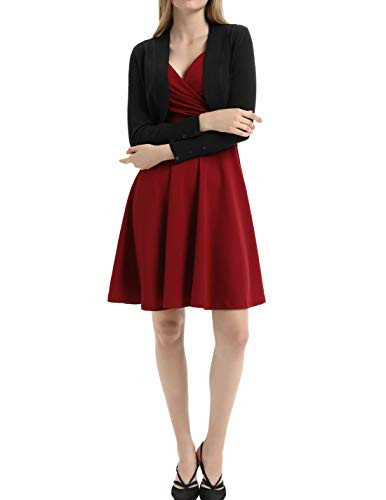 50s 60s Style V-Neck Wrap Cocktail Dress Size S Wine Red