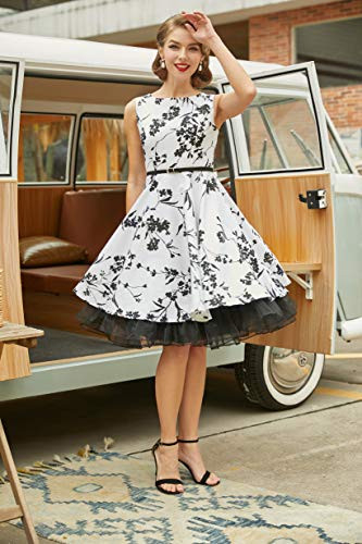 50s Vintage Pin-up Dresses Fit and Flare Sleeveless Size M