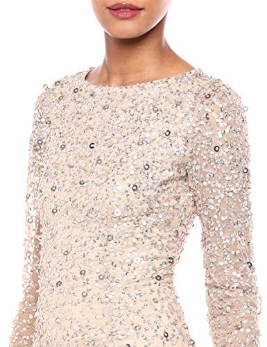 Adrianna Papell Womens Beaded Long Dress, Champagne, 6