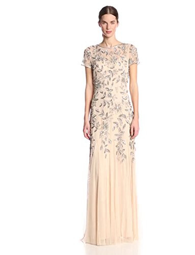 Adrianna Papell Womens Floral Beaded Godet Gown,