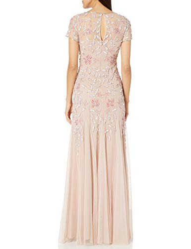 Adrianna Papell Womens Floral Beaded Godet Gown Dress,