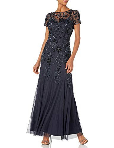 Adrianna Papell Womens Floral Beaded Godet Gown, Twilight,