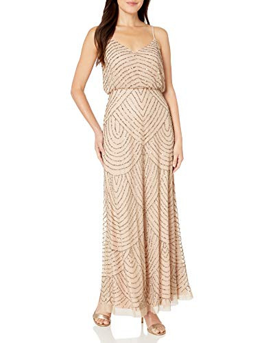 Adrianna Papell Womens Long Beaded Blouson Gown,
