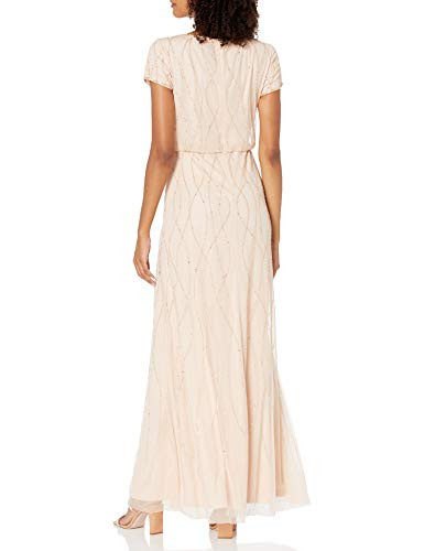 Adrianna Papell Womens Long Beaded Dress, CHAMPAGNE SAND,