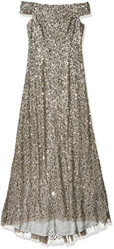 Adrianna Papell Womens Off The Shoulder Beaded Long Gown,