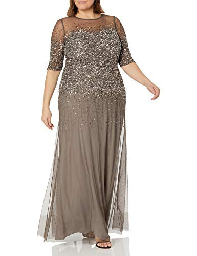 Adrianna Papell Womens Plus-Size 3/4 Sleeve Beaded Illusion