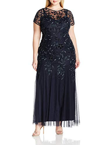 Adrianna Papell Womens Plus-Size Floral Beaded Gown with