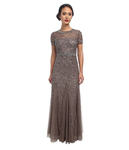Adrianna Papell Womens Short Sleeve Beaded Mesh Gown, Lead,