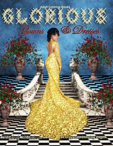Adult Coloring Books Glorious Gowns amp Dresses 44 grayscale