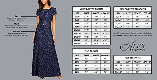Alex Evenings Womens Long Fit and Flare Dress Godet Detail
