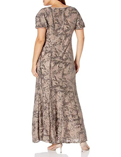 Alex Evenings Womens Plus Size Mother of The Bride, Taupe,