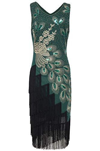 BABEYOND 1920s Vintage Peacock Sequined Dress Gatsby Fringed
