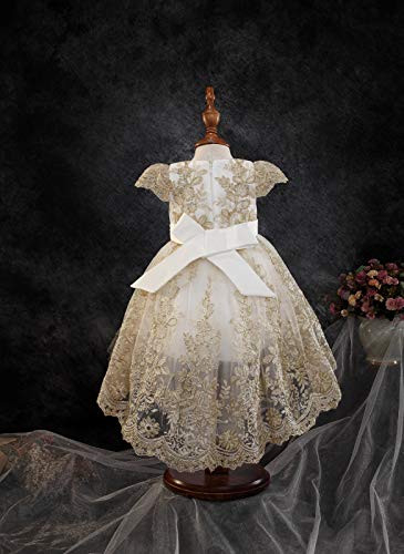Baby Girls Formal Dress Tulle Flower Lace Capped Sleeves