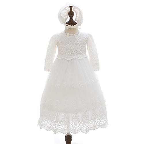 Baby Girls Long Sleeve Christening Dress Classic Embroidered