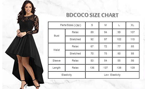 Bdcoco Womens Vintage Lace Long Sleeve High Low Cocktail