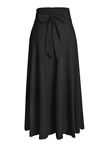 Black Maxi Skirts for Women Vintage Summer High Waisted