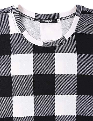 Blooming Jelly Womens Plaid Swing Dress Long Sleeve Round