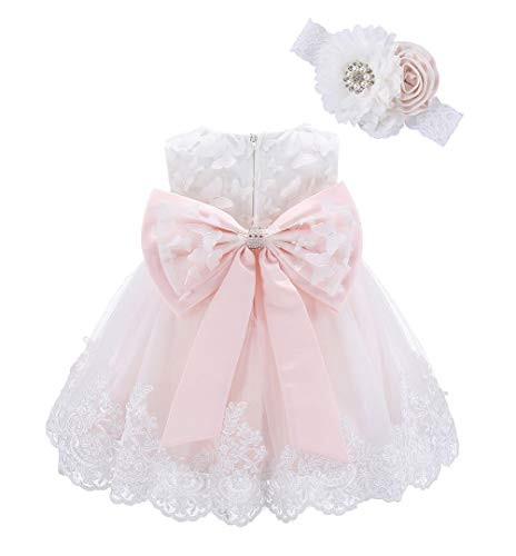 Bow Dream Lace Baby Girl Dress with Headband Wedding Party