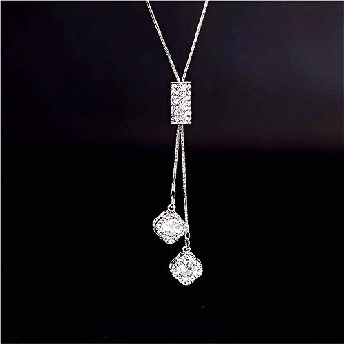 Cathercing Flower Rhinestone Pendant Long Necklace for Women