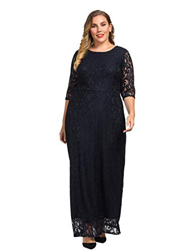 Chicwe Womens Plus Size Stretch Lace Maxi Dress - Evening