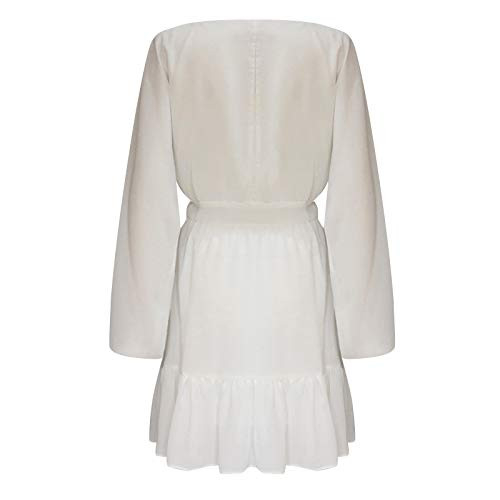 Chiffon Dress for Women, High Waisted Solid Color Elegent