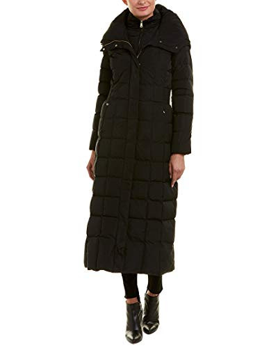 Cole Haan Womens Taffeta Quilted Long Down Coat, Black, XS