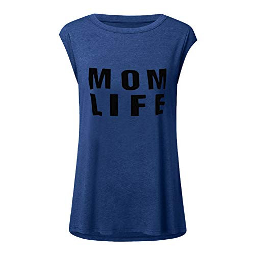 Dosoop Women Mama Life Letter Printed Round Neck Short