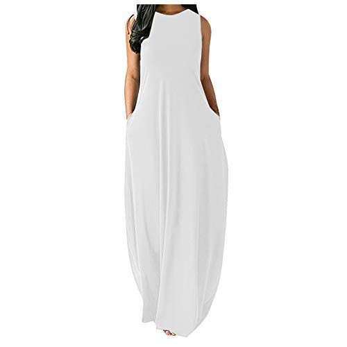 Dosoop Womens Casual Dresses Summer Casual Solid Color Long